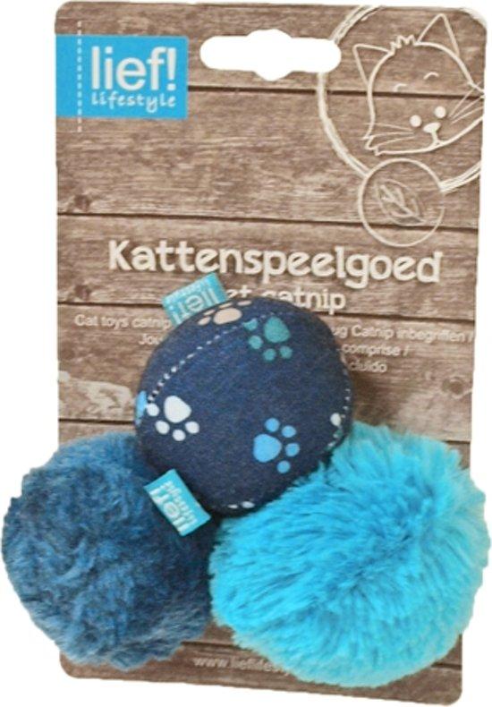 Lief! Softbal Boys Met Catnip - Kattenspeelgoed - Blauw - 5 cm