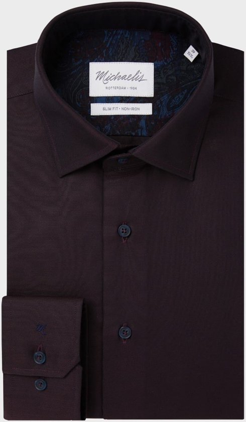 Michaelis Heren Overhemd Bordeaux Rood Twill Non Iron Slim Fit