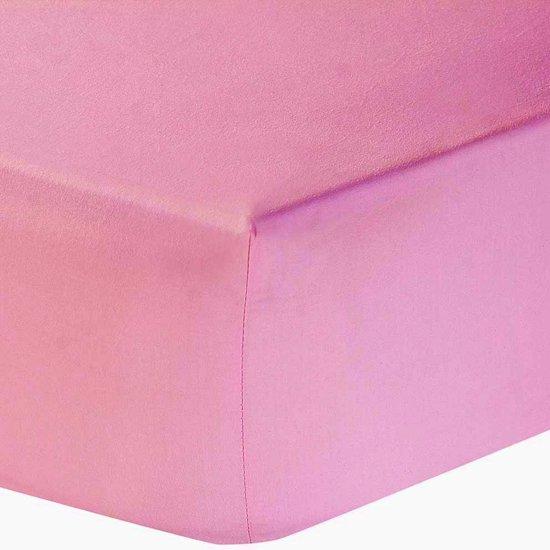 Nightsrest Jersey Hoeslaken Extra Dubbeldik Cottonblend - Roze Maat: Lits-jumeaux (160/180x200 cm)
