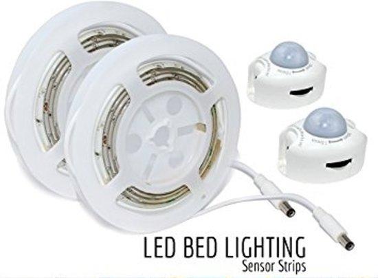 kast bed led verlichting 2x strip met bewegingssensor warm wit