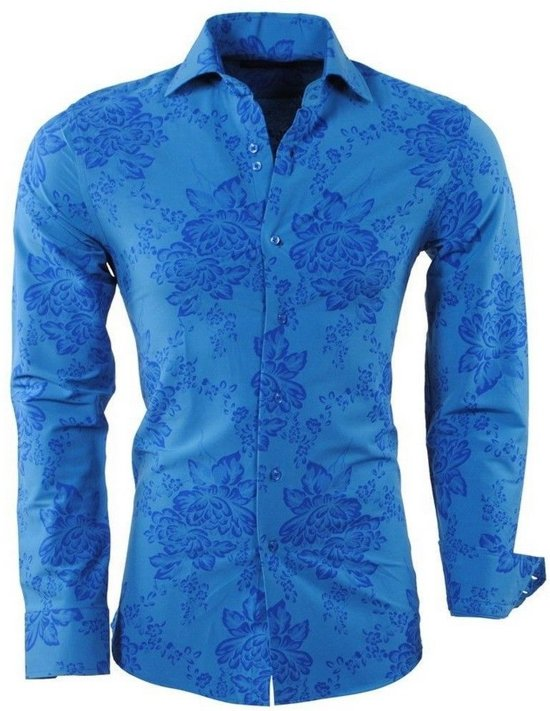 Blauw Overhemd Bloemen Fit MontazinniHeren Slim tsQhxrdC