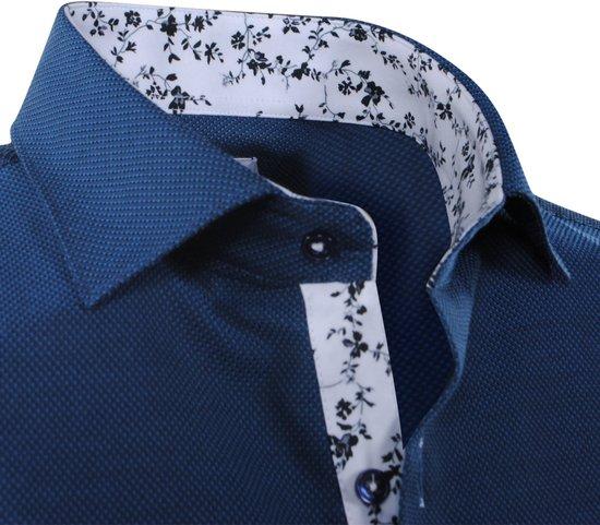 Fit Motief Bloemen Navy Pradz Met Heren De In Kraag Slim Overhemd qCIz7