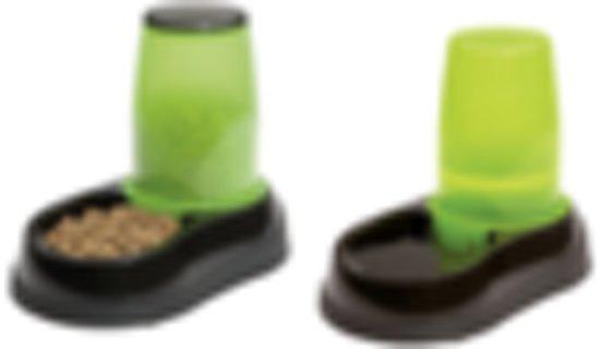 Maelson combinatie Aquaa 250 & Feedo 150 waterbak & voerbak voor kat en hond . Zwart/groen. Maat XL.