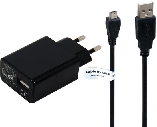 TUV getest 2A. oplader met USB kabel laadsnoer  2Mtr. Alcatel Flash Plus 2 - Alcatel Fierce 4 -  USB adapter stekker met oplaadkabel. Thuislader met laadkabel oplaadsnoer in Ederveen