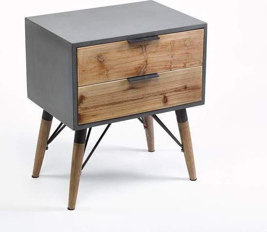 Duverger nachtkast radius wit uit notelaar hout van duverger kopen laagste prijs aanbiedingen - Moderne nachtkastje ...