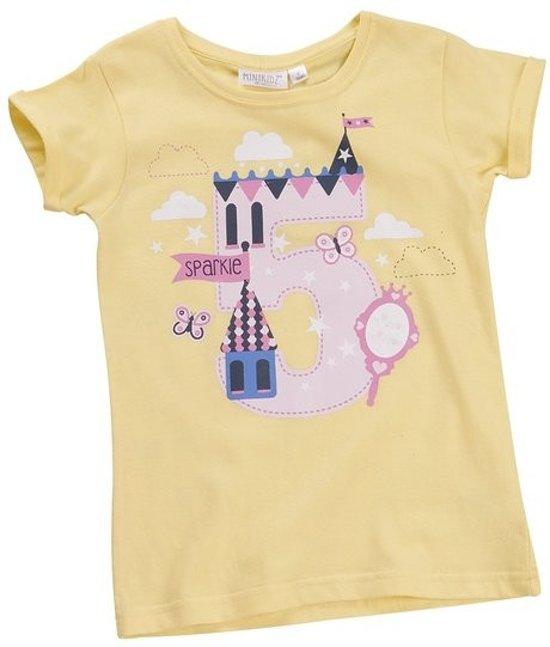"""T-shirt meisje """"5 jaar"""" geel"""