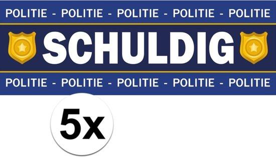 5 x Schuldig stickers voor politie/agent kostuum