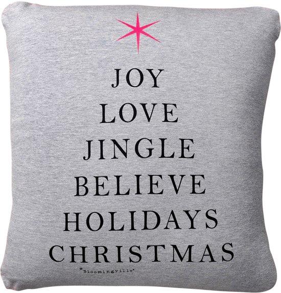 Bloomingville Kerst Joy Love Jingle - Sierkussen - 45x45 cm - Grijs