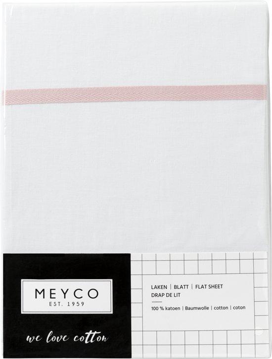 Meyco wieglaken wit met bies - 75 x 100 cm - Lichtroze