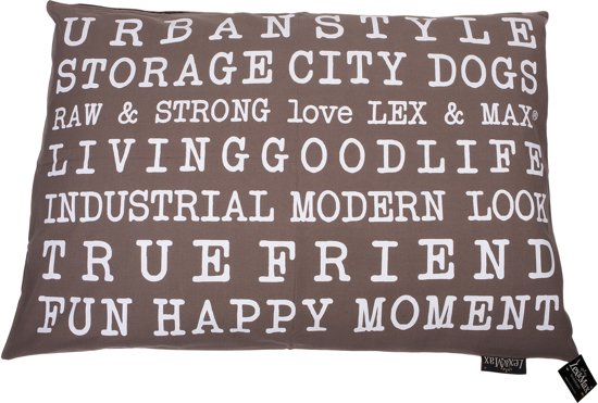 Lex & max tekst urban losse hoes voor hondenkussen rechthoek  100x70cm taupe