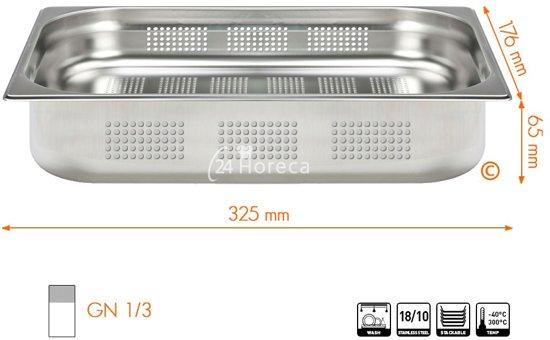 Stoomovenpan 1/3 65mm Profi Line, geperforeerd
