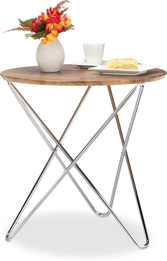 relaxdays - bijzettafel rond - vintage look salontafel - houtlook - koffietafel Dia. 60cm