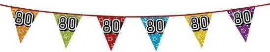 3x 80 jaar vlaggenlijn glitters  - verjaardag slingers