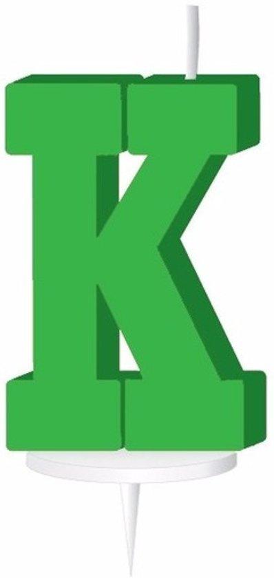 Groen letterkaarsje met houder K
