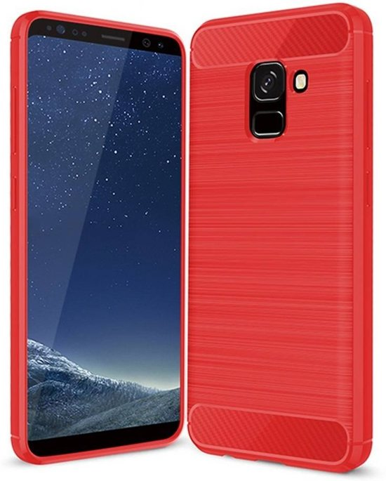 Samsung Galaxy A8 2018 - Geborstelde TPU Cover - Rood