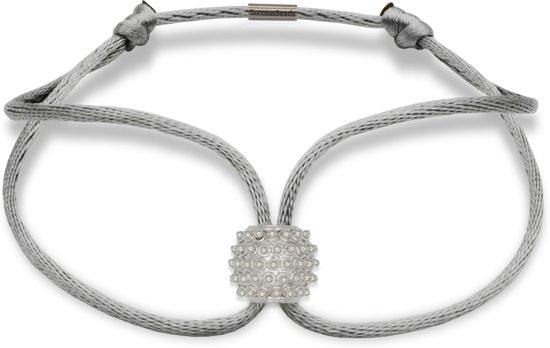 SUCCESSBEADS - powerful - satijn armband zilver - helder 925 sterling zilver