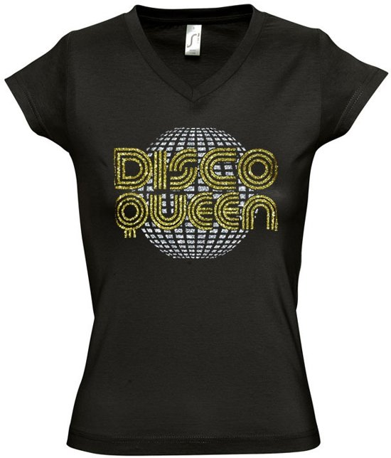 Zwart T-shirt DISCO QUEEN (XL)