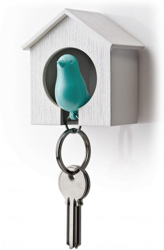Qualy sleutelhouder vogelhuisje Sparrow - Wit - Blauw