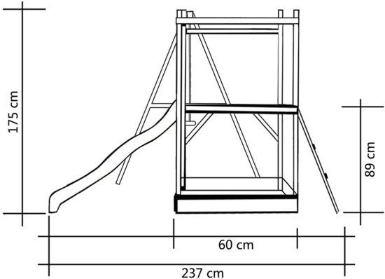 vidaXL Speelhuis met glijbaan, ladders en schommel 242x237x175 cm hout