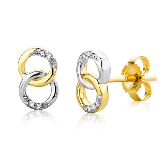 Majestine oorbellen 9 karaat (375) bicolor infinity - oorknoppen - dames - wit/geelgoudkleurig - diamant 0.02 ct