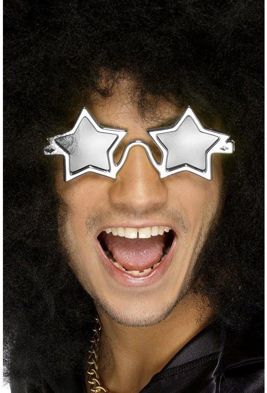 95924c5088359b Verkleed accessoires zilveren disco bril met ster glazen voor volwassenen