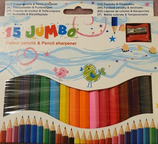 Kleurpotloden met Puntenslijper  - Jumbo - 15 stuks - Makkelijk vast te houden voor kinderen vanaf 3 jaar