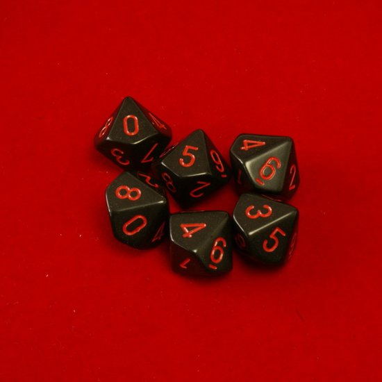 Afbeelding van het spel 10 Vlakken Tienzijdige Dobbelstenen Zwart met Rood 16mm Set van 6 Stuks