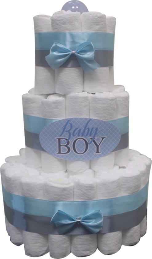 Pampertaart / luiertaart jongens baby boy 3-lagen 41 Pampers blauw maat 2 Kraamcadeau, Babyshower, Geboortecadeau
