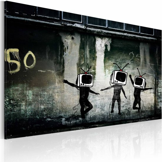 Schilderij - TV heads dance (Banksy), zwart/wit, 1 deel, 40x60cm