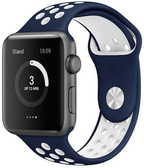 Rubberen sport bandje voor de Apple Watch 38mm S/M - Donkerblauw   Wit in Klaeiterp