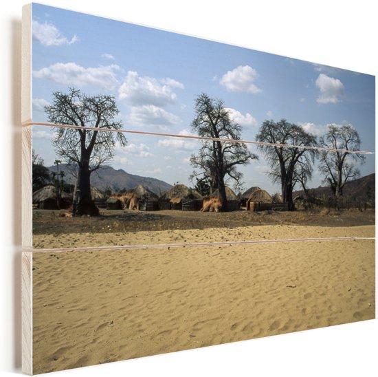 Traditionele rieten huizen in het kleine dorpje Meponda in Mozambique Vurenhout met planken 120x80 cm - Foto print op Hout (Wanddecoratie)
