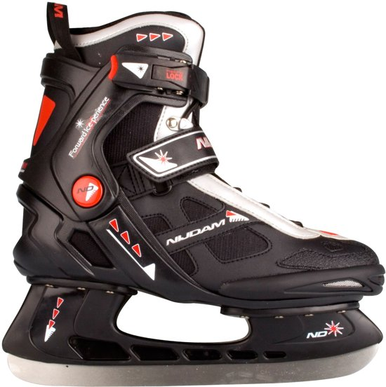Nijdam 3353 Ijshockeyschaats - Semi-Softboot - Zwart/Oranje - Maat 46