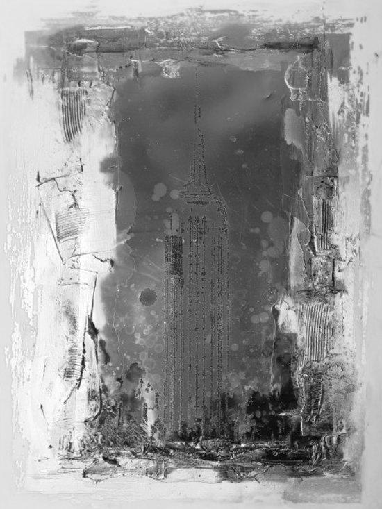 Schilderij abstract grijs 90x120