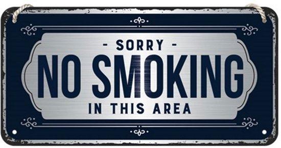 Hangend Sorry No Smoking In This Area Metalen Bord - 10 x 20 cm