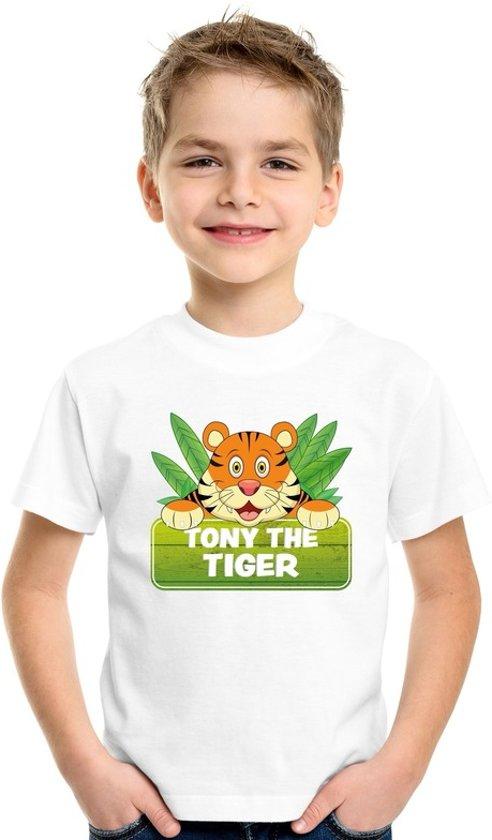 Tony the tiger t-shirt wit voor kinderen - unisex - tijger shirt L (146-152)