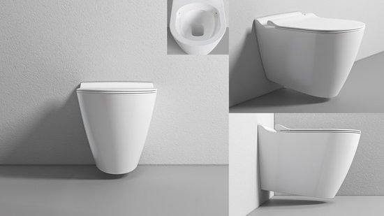 Toilet Zonder Afvoer : Bol sanitear mineraal zonder spoelrand wandcloset set