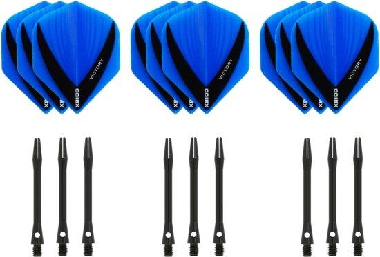 Dragon darts - 3 sets - XS100 Vista - Aqua - Darts flights - plus 3 sets - aluminium - darts shafts - zwart - medium