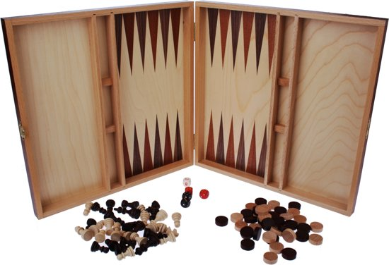Hot sports Schaak-dam-backgammon klapcassette hout 29x29