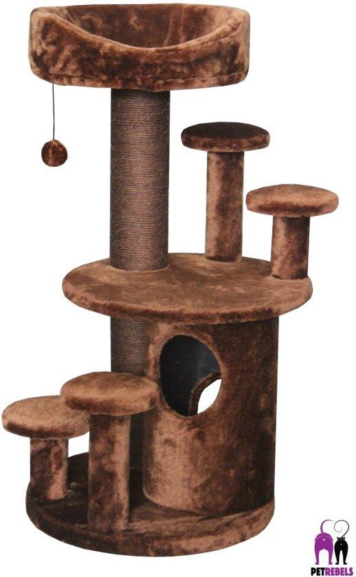 Petrebels krabpaal sweet petite villa 95 fuzzy brown 60cm x 40cm x 95cm