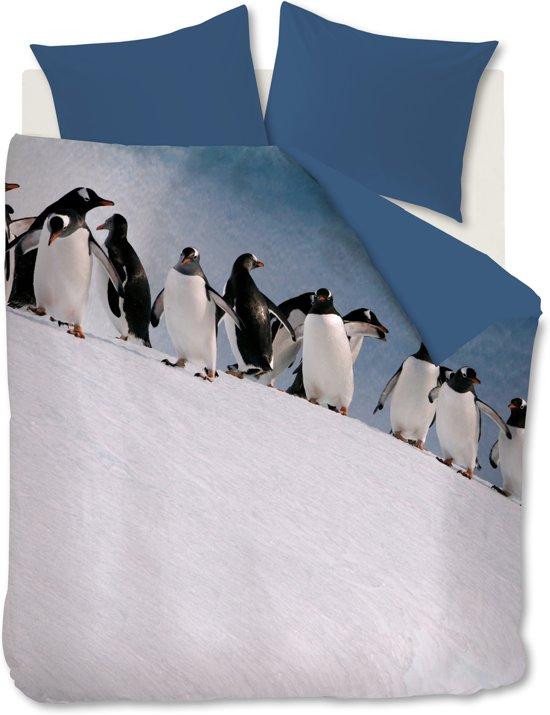 Ambiante Penguins - Dekbedovertrek - Lits-jumeaux - 240x200/220 cm - IJs Blauw
