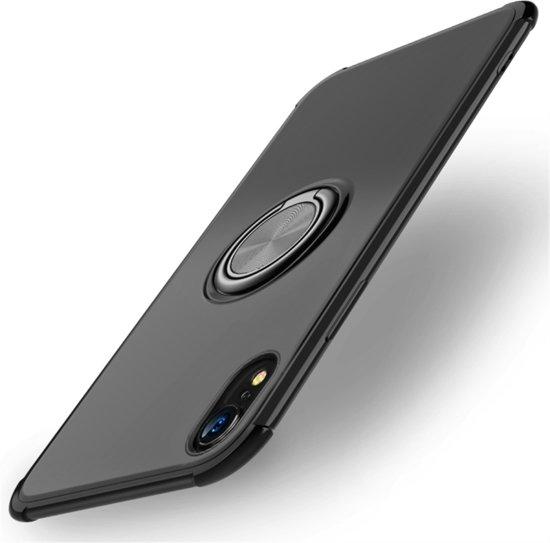 Let op type!! Schokbestendige TPU beschermhoes voor iPhone XR  met houder (zwart)