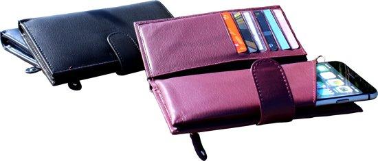 Leren dames portemonnee met een universeel speciaalvak voor uw mobiel extra veel pasje - Organiseren ruimte voor een extra ...