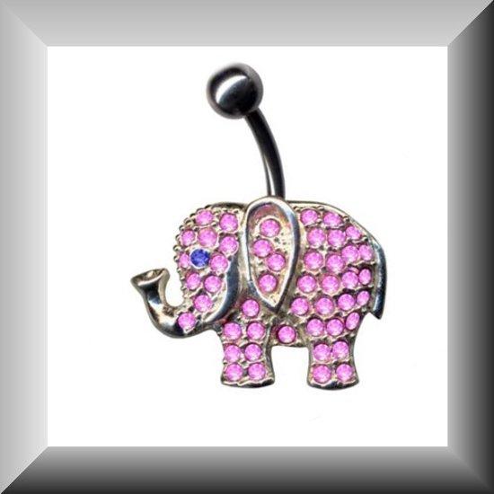 Aparte piercing van zilver , model roze olifant