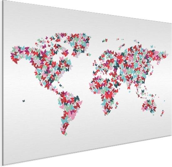 Wereldkaart vlinders kleur aluminium - artistiek - 60x40 cm | Wereldkaart Wanddecoratie Aluminium