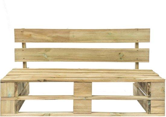 vidaXL Pallet tuinbank met zandkleurige kussens FSC grenenhout