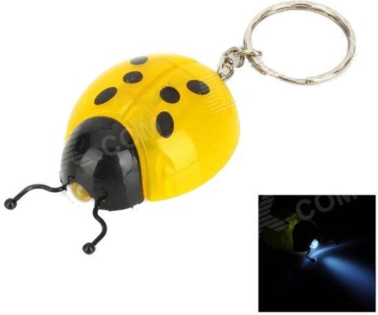 Lieveheersbeestje sleutelhanger met LED licht - 8 stuks - zaklampje - uitdeelcadeautje - traktatie