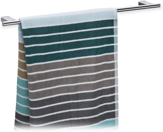 relaxdays handdoekhouder muur badkamer roestvrij staal handdoekbeugel 65 cm breed