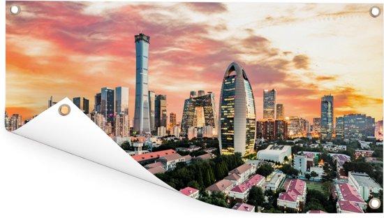 De Chinese stad Beijing Tuinposter 60x30 cm - klein - Tuindoek / Buitencanvas / Schilderijen voor buiten (tuin decoratie)