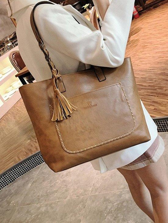 Beste bol.com   Fashionidea – mooie bruin leren shopper met Tassel EK-18
