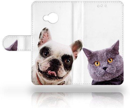 HTC U Play Uniek Design Hoesje Hond en Kat in Wapse